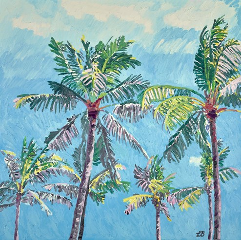 Cerulean Skies and Sunlit Palms by Leila Barton - Original Painting on Box Canvas